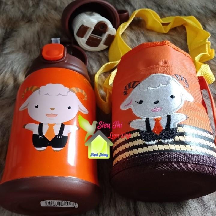 Bình đựng nước 600ml cho bé đi học giữ nhiệt 12 giờ có ống hút và tặng kèm túi vải (Giao ngẫu nhiên)