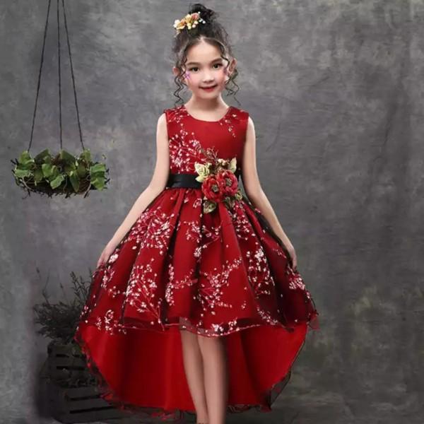 Giá bán Đầm công chúa bé gái dáng đuôi tôm sát nách diện Noel đi tiệc màu đỏ hoa đào đính cườm cao cấp