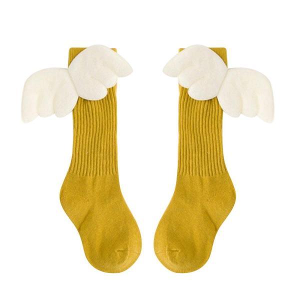 Giá bán Em bé màu vàng Trẻ em Trẻ em Cô gái Mùa đông vớ dài Dễ thương Thả trên đầu gối, Quà tặng cho em bé Angel Wings, 4 đến 6 tuổi