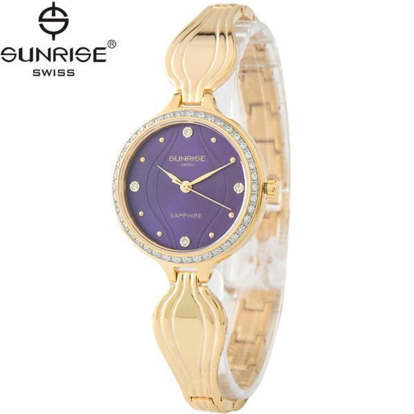 Đồng hồ nữ dây kim loại mặt kính sapphire chống xước Sunrise SL9937DLK tím