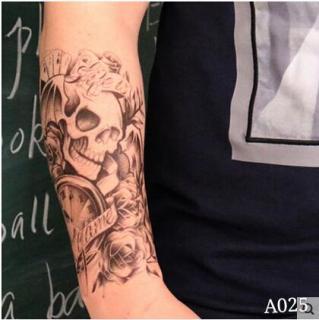 Hình xăm dán nam tatoo đầu lâu bài kích thước 15 x 21 cm - miếng dán hình xăm đẹp dành cho nam thumbnail