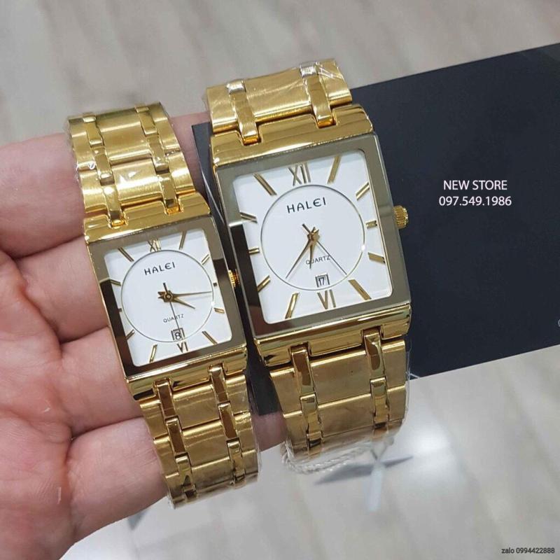 Đồng hồ cặp đôi Halei HL3 vàng platium  dây thép cao cấp sang trọng lịch lãm