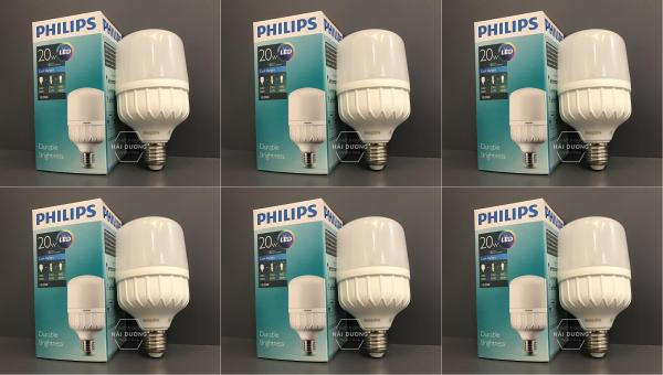 Bộ 6 Bóng đèn Philips LED trụ 20W Trắng / Vàng - Bảo hành 1 năm