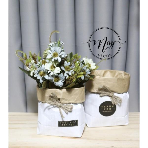 Hoa cúc khô vải giả kèm chậu túi giấy xinh xắn phong cách bắc âu