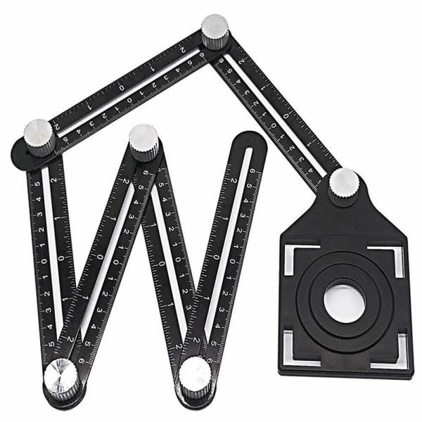 Thước Đo Hợp Kim Nhôm Đa Góc Thước Gấp Sáu Dụng Cụ Kim Loại Cho Thợ Đục Lỗ Nghề Mộc Bộ định vị lỗ gạch gốm Universal Ruler Công cụ mẫu Angularizer hợp kim nhôm sáu mặt có thể điều chỉnh