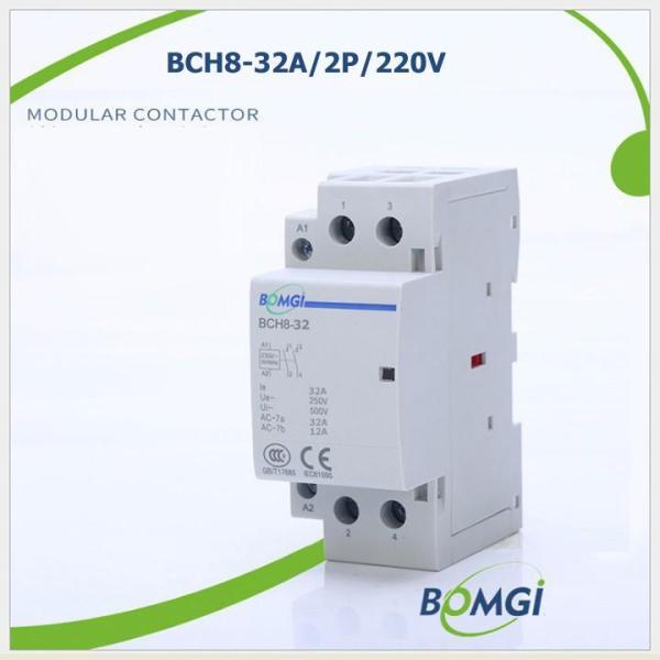 Bộ khởi động từ công tắc tơ 1 pha 32A 220v BOMGI BCH8-32, kết hợp cùng công tắc hẹn giờ, ổ cắm hẹn giờ, công tắc điều khiển từ xa
