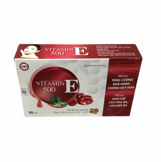 Viên uống đẹp da vitamin E 500- Thành Phần Tinh Dầu Quả Óc Chó, Hoa Anh Thảo Giúp Đẹp Da, Mờ Nám, Cân Bằng Nội Tiết Tố- hộp 30 viên thumbnail