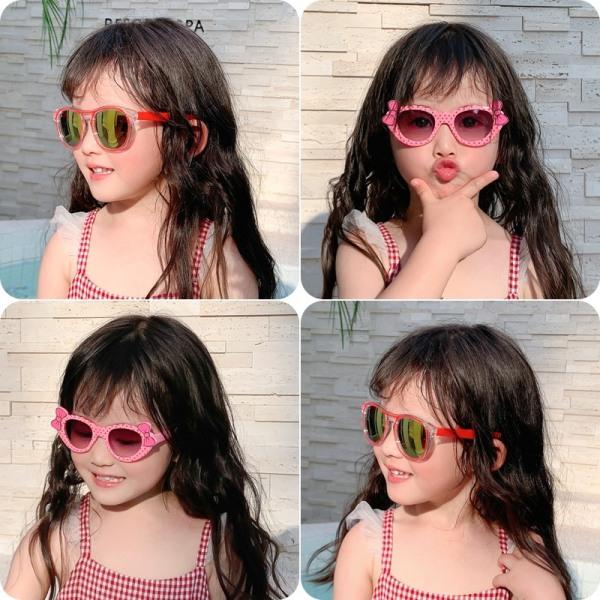 Giá bán Kính Mát thời trang Cho bé từ 1-3 tuổi  Nơ Chấm Bi siêu ngầu mẫu mới nhất năm 2021,Kính Mát Chống UV giá rẻ mã 1207