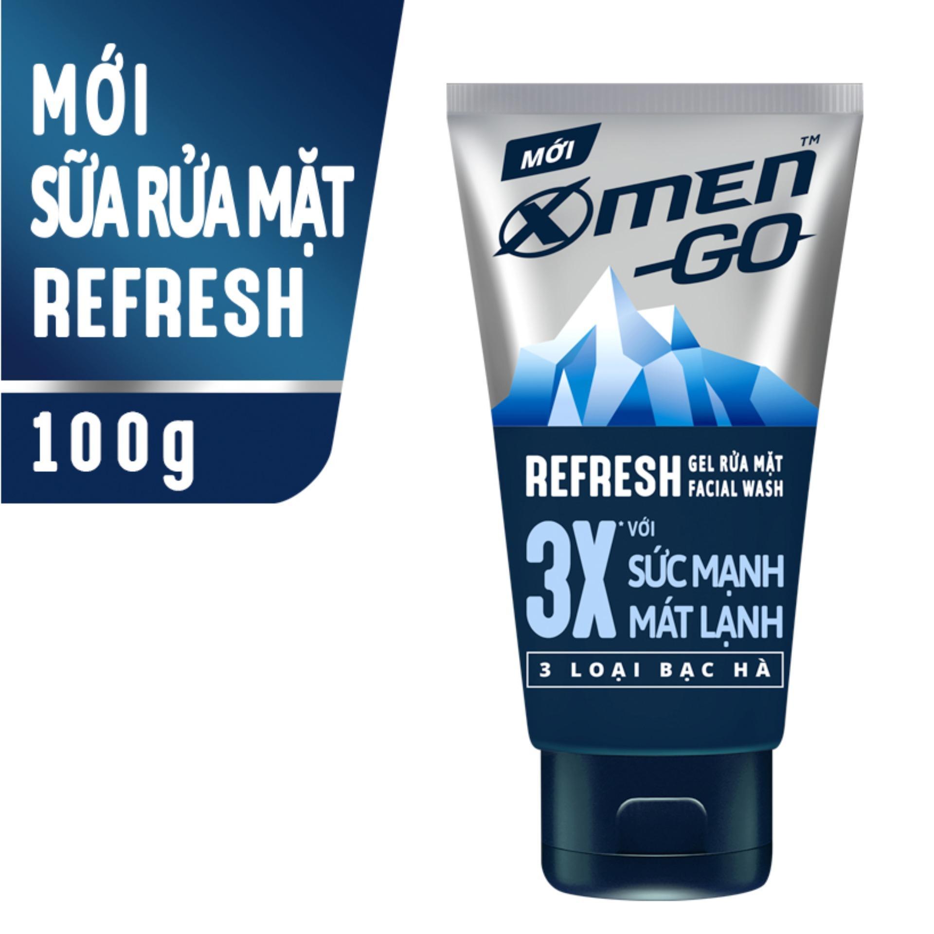 Sữa rửa mặt X-Men Go REFRESH 3 Loại Bạc Hà 100G