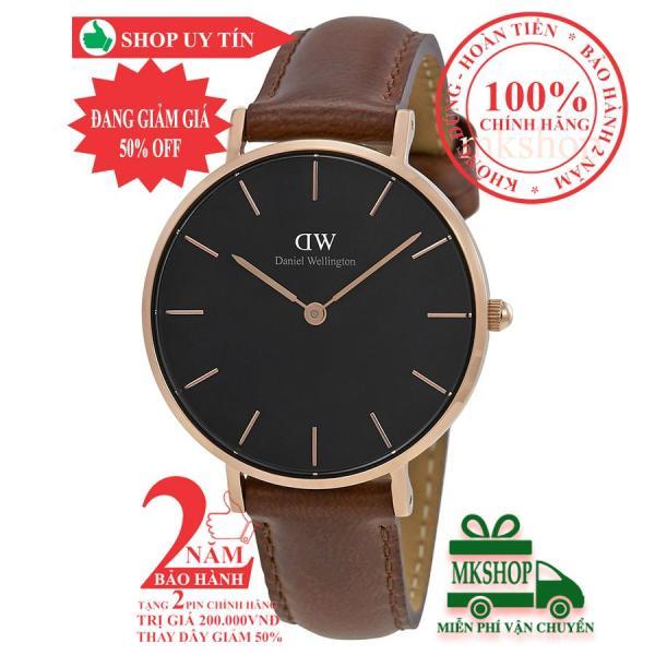 Đồng hồ nữ D.W Classic Petite St Mawes- 32mm- Màu vàng hồng (Rose Gold), mặt đen(Black) DW00100169