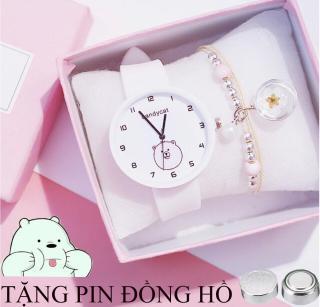 Đồng hồ dây cao su nữ Candycat gấu trắng mặt ngố cute, dây cao su mềm mại, chạy bằng pin có 4 màu lựa trọn ( tặng 1 viên pin ) thumbnail