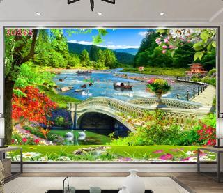 Tranh dán tường 3D Phòng Khách Thiên Nhiên Giao Hòa, 345( Đã tích hợp sẵn keo) thumbnail
