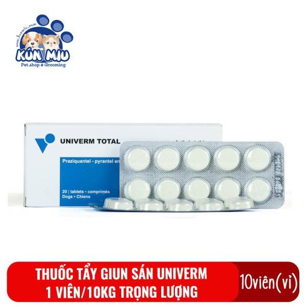 1 Vỉ (10 Viên) Thuốc Tẩy Giun Sán Cho Chó Mèo Univerm Total - Thuốc Xổ Giun, Sán, Lãi Cho Thú Cưng