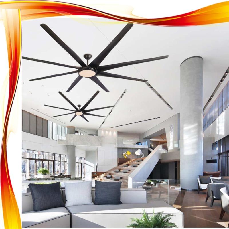 Quạt trần công nghiệp, nhà xưởng, phòng khách lớn, sân vườn có đèn Led SLFan SLF-9019L