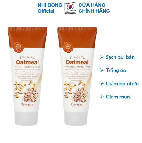 [Combo 2 Tuýp] Sữa rửa mặt trắng da và làm sạch chiết xuất Lúa Mạch Pure Mind Hàn Quốc 100mlx2 Lọ giúp da trắng sáng mềm mịn tự nhiên