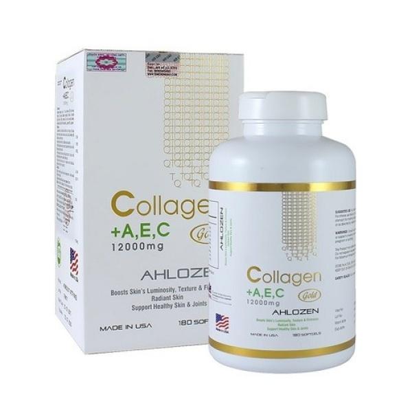 [Hàng chính hãng ]Collagen AEC Gold 12000mg Của Mỹ - Giup làm làn da căng min , trắng sáng -Hộp 180 Viên - mỹ nhập khẩu