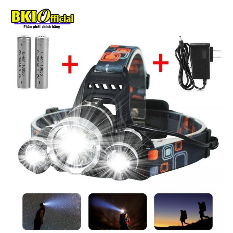 Đèn pin siêu sáng, đèn pin đội đầu 3 bóng siêu sáng, đèn led đội đầu 3 bóng + 2 pin sạc 18650 + 1 củ sạc, Den pin sieu sang doi dau 3 bong