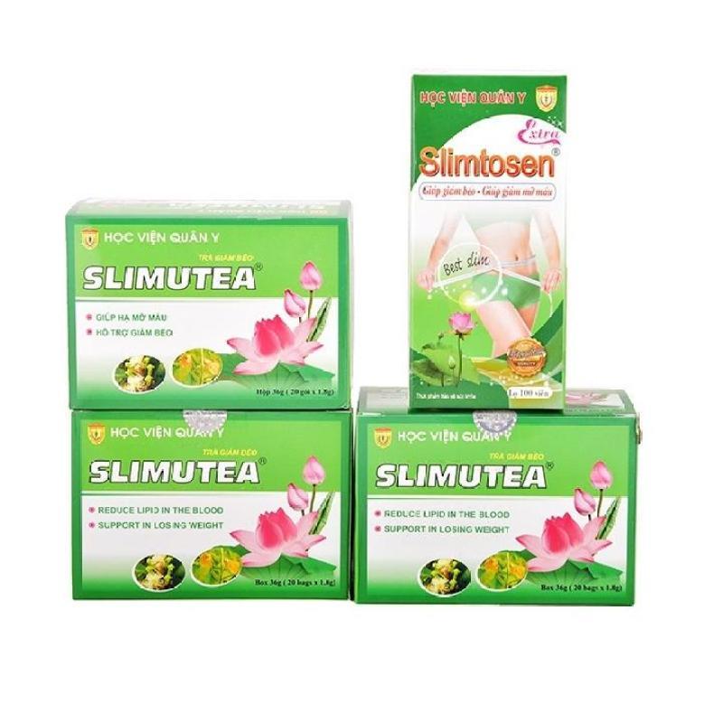 Liệu Trình Giảm Cân 1 hộp Slimtosen Extra và 3 trà sen Slimutea cao cấp