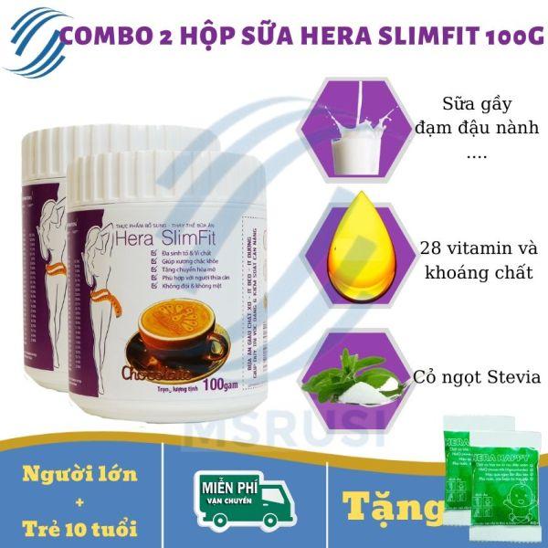 Combo 2 hộp Sữa Giảm Cân Hera SlimFit 100g - Giảm Mỡ Bụng, Eo, Bắp Tay, Bắp Chân - Cách Giảm Cân Nhanh, Khoa Học, An Toàn Tại Nhà – MSRUSI - [Tặng 01 thước dây + 2 gói Hera Happy]