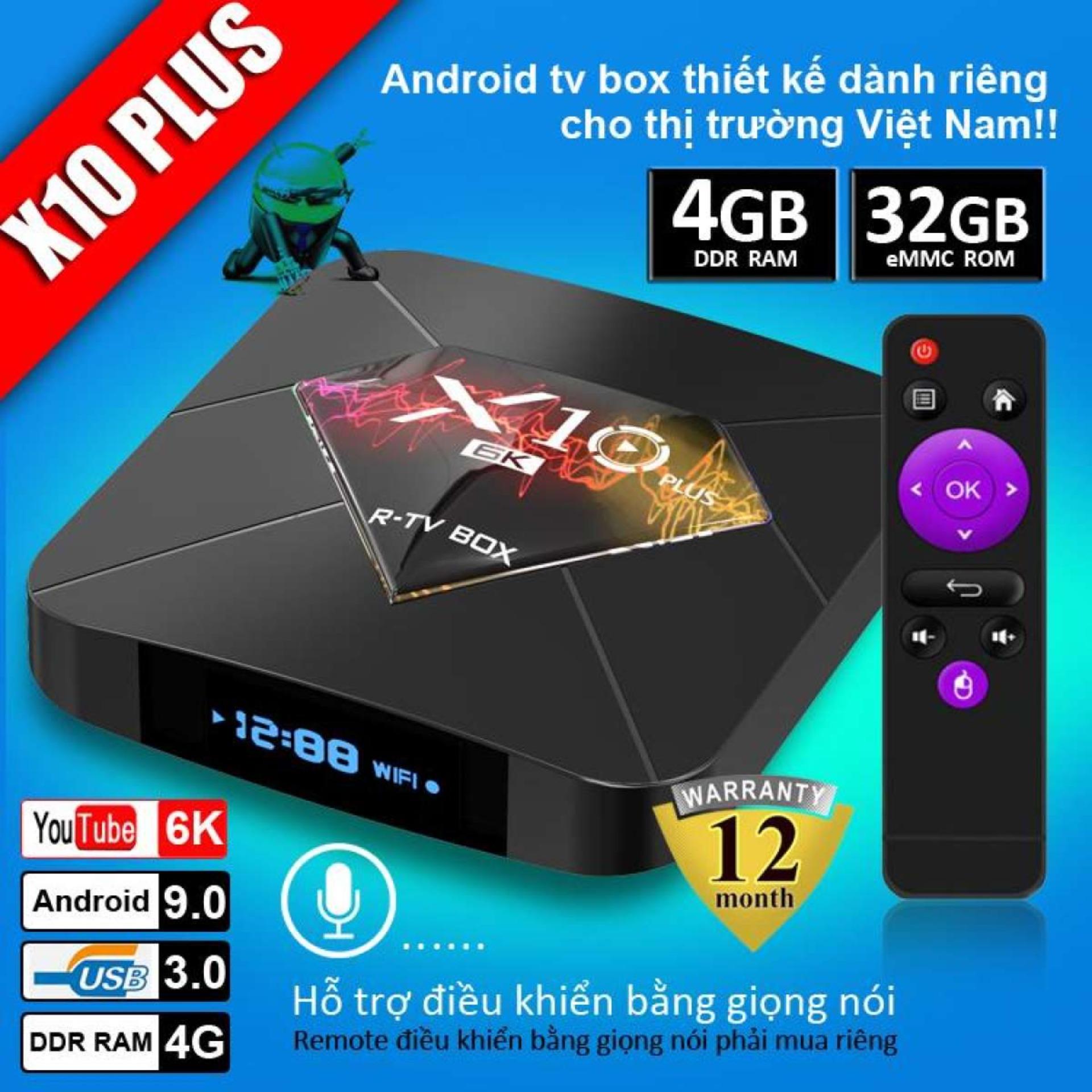 Offer Khuyến Mại [Tặng Cáp Sạc điện Thoại]Android TV Box X10 Plus 6K Hỗ Trợ Xem Chất Lượng HD, Ram 4GB, Bộ Nhớ Trong Lên Tới 32GB, Hệ điều Hành Android 9