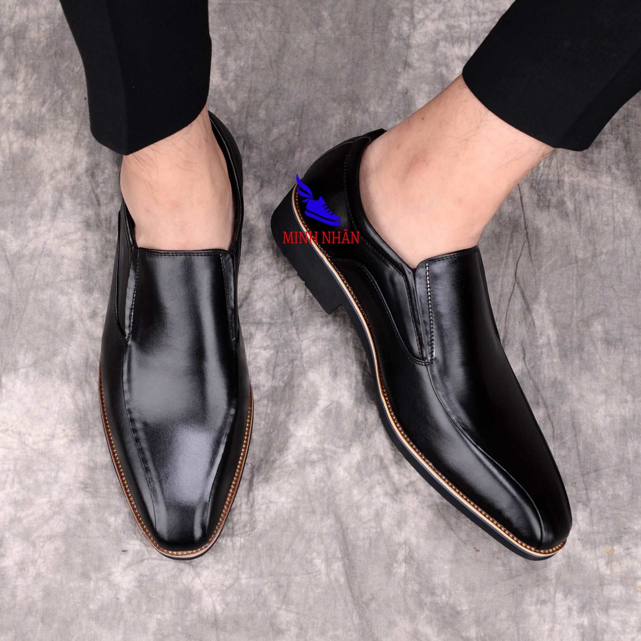 Giày Tây nam da bò Giày lười công sở Cổ điển Giày Da Doanh Nhân Đơn Giản Giày lười không dây Giày Tây Giày Công Sở Giày Nâng Chiều Cao hàng hiệu cao cấp giá rẻ sang trọng L-17 màu đen