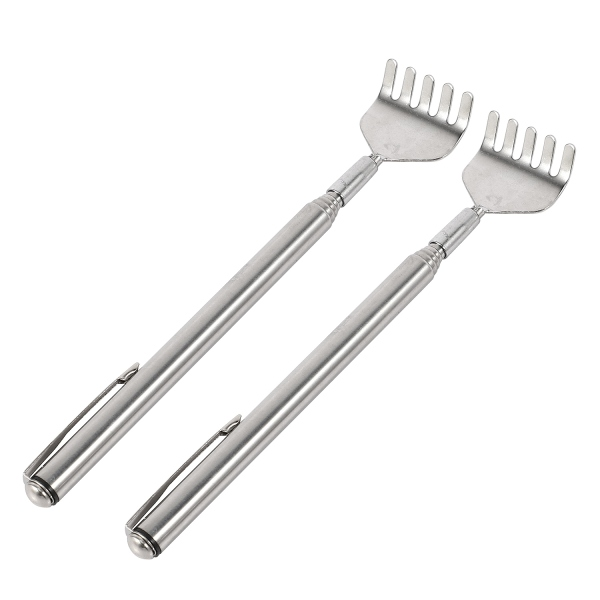 2x Telescopic Stainless Steel Back Scratcher with Pocket Clip