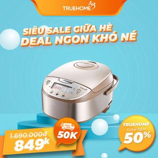 Nồi cơm điện tử TrueHOME TR-18DE017(G) - 1,8L kèm vỉ hấp và cốc đong,  lòng nồi chống dính, 10 chương trình nấu, hàng chính hãng bảo hành 1 năm
