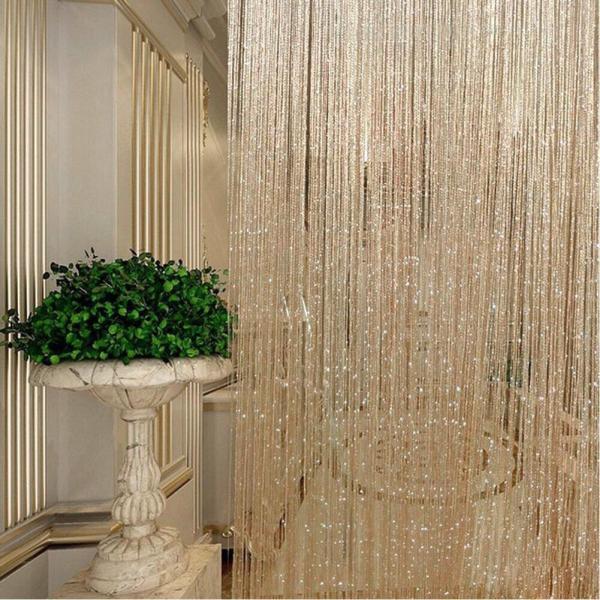 Combo 2 rèm cửa sổ 3mx3m sợi dù đính kim tuyến trang trí, rèm ngăn phòng, mành cửa đẹp, rèm ngăn giường trong spa cao cấp, rèm trang trí tiệc cưới
