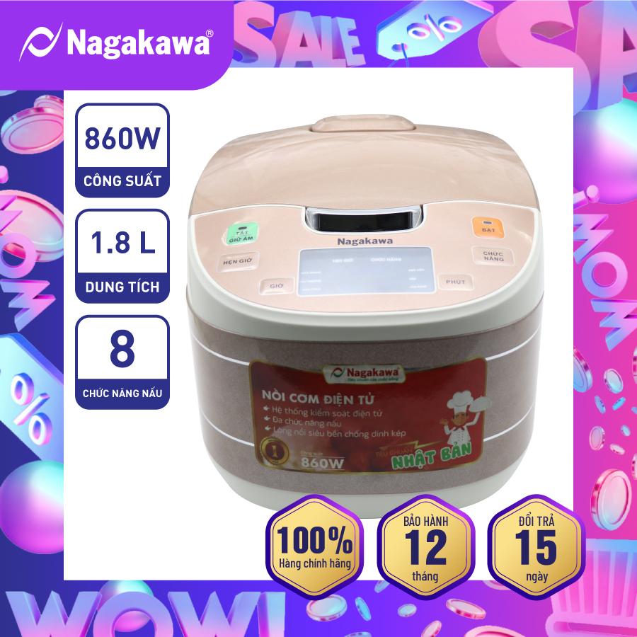 Nồi Cơm Điện Tử Nagakawa NAG0103 (1.8 L) - Nâu trắng - Công suất 860W - Lòng nồi chống dính cao cấp - Bảo hành 12 tháng - Hàng Chính Hãng
