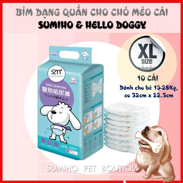 Bỉm quần cho chó mèo cái (Female) Sumiho size XL 10 cái dành cho chó 13-28Kg, eo 52cm x 22.5cm