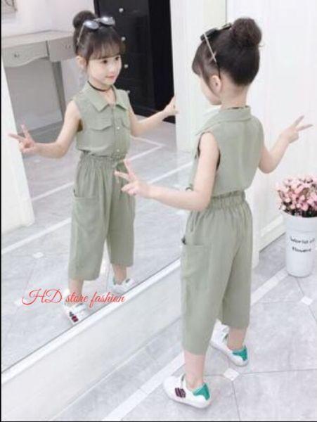 Giá bán đồ bộ bé gái quần lửng tay cộc vải phi lụa mát 0051