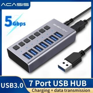 ACASIS Hub USB 3.0 Tốc độ cao 7 cổng USB 3.0 có bật tắt bộ chia với bộ điều hợp nguồn EU US UK cho máy tính xách tay Macbook thumbnail