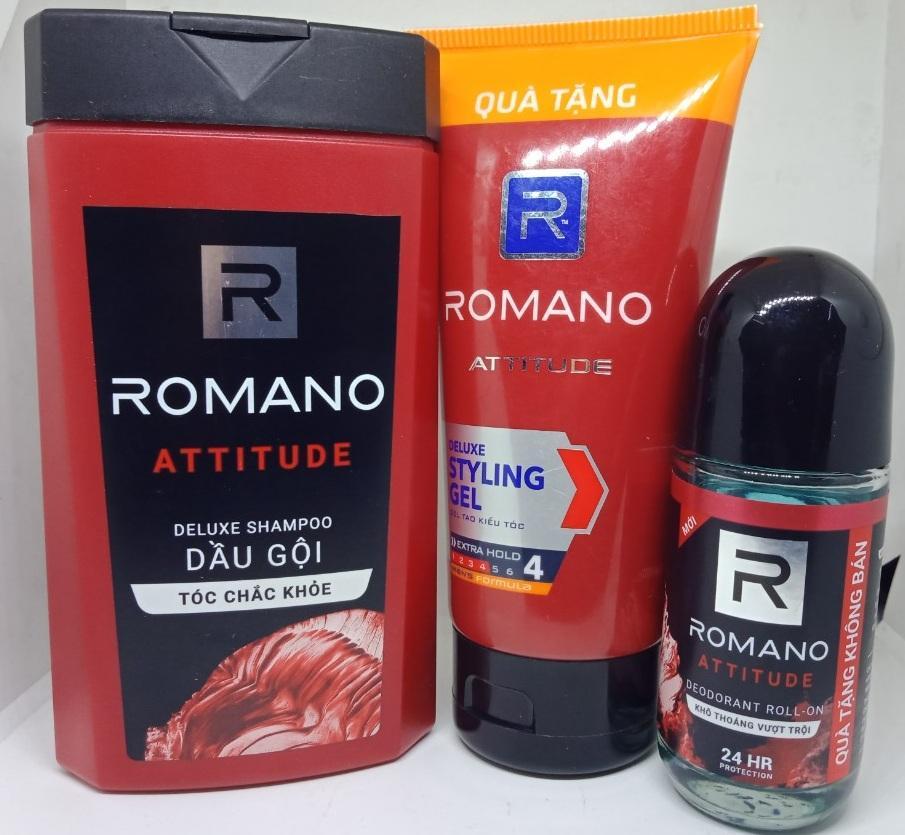 Combo 3 Romano. 1 Dầu Gội Đầu Hương Nước Hoa Romano 150g , Gel Tạo Kiểu Tóc Romano 120g, 1 Lăn Khũ Mùi Romano 40ml