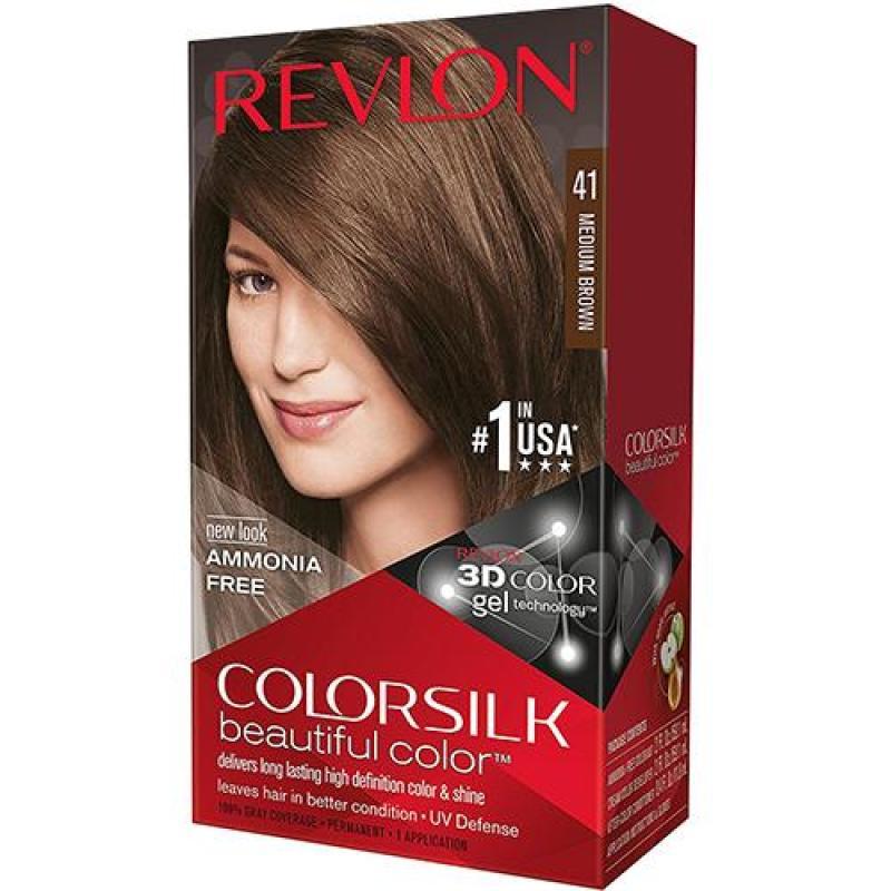Thuốc nhuộm tóc Revlon ColorSilk 3D # 41  Nâu Vừa No Ammonia (tặng 01 nón trùm tóc) No 1 in the USA cao cấp