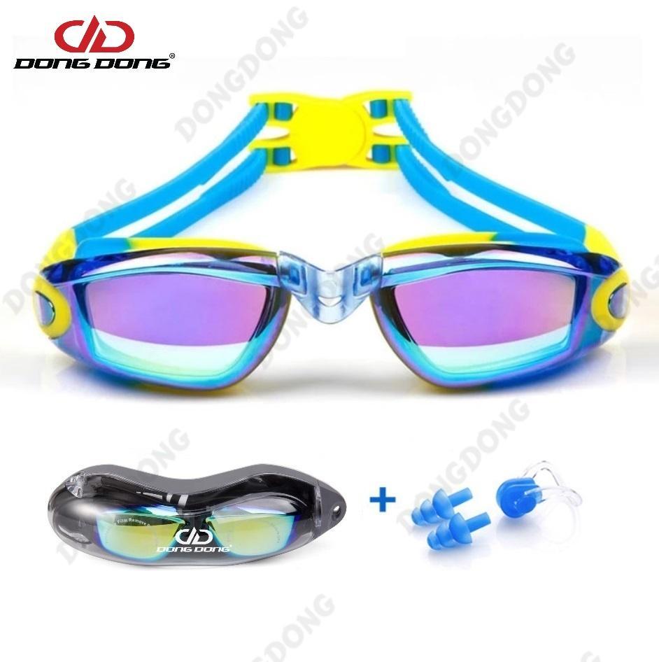Kính Bơi Tráng Gương D34 (Tặng Kèm Bịt Tai + Kẹp Mũi), Kính Bơi Ngăn UV Thời Trang Cao Cấp - DONGDONG Đang Ưu Đãi Cực Đã