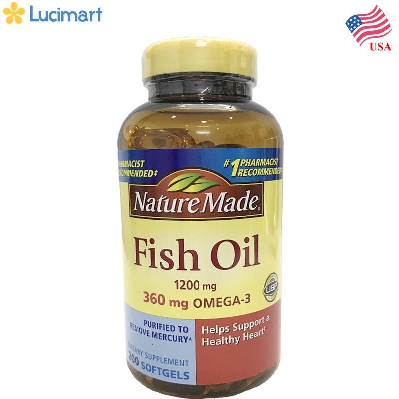 Dầu cá từ thiên nhiên từ USA Nature Made Fish Oil 1200 mg, Omega-3 , 200 viên