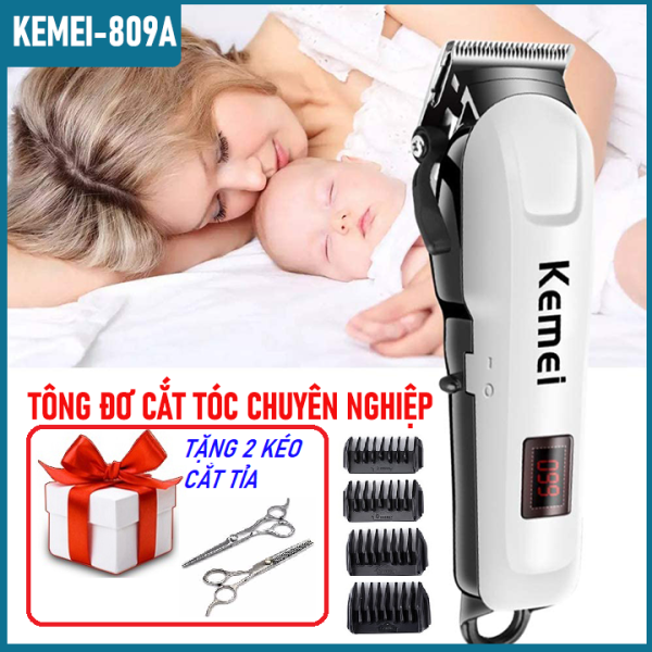 [Tặng 2 kéo cắt tỉa]Tông đơ cắt tóc, hớt tóc trẻ em và gia đình không dây chuyên nghiệp Kemei KM 809A chấn viền, cạo viền chất hơn tông đơ kemei, philips, baber, xiaomi