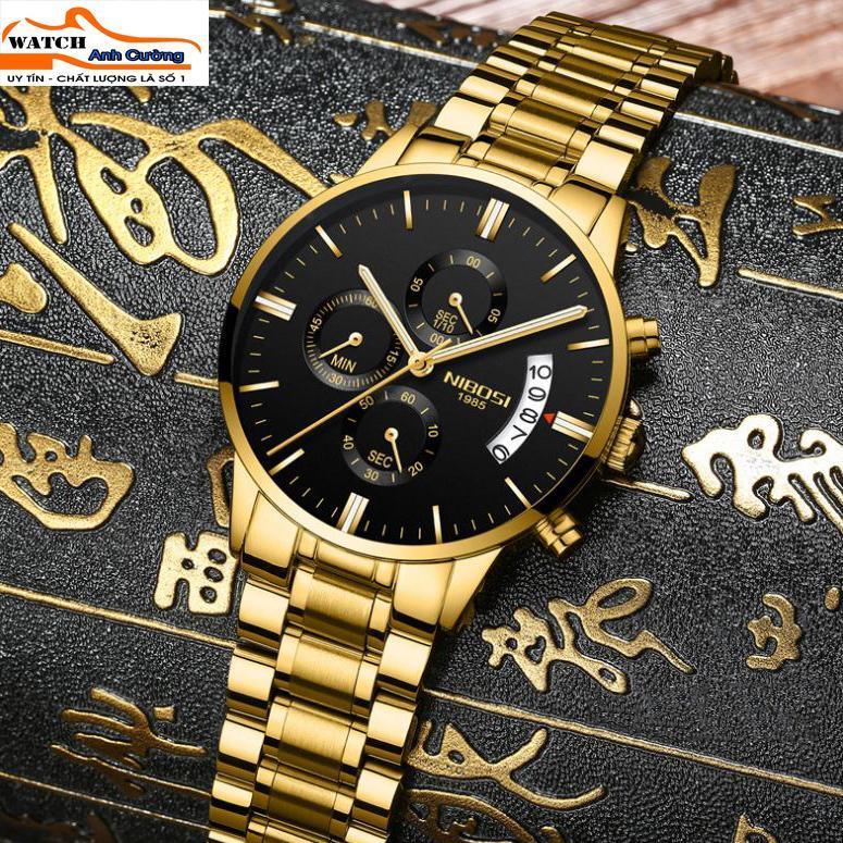 Đồng hồ nam Nibosi 1985 NI2309 thể thao chạy full kim-Đồng Hồ Nam NIBOSI 6 kim sang trọng lịch lãm- tặng kèm hộp và vòng tay phong thủy bán chạy