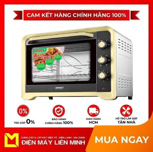 Lò nướng Sanaky 80 lít VH-809N2D - Cửa kính 2 lớp tiết kiệm điện năng và giữ nhiệt tốt Nướng trên và nướng dưới thuận tiện Chức năng quay cho thực phẩm chín nhanh và đều