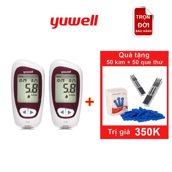 Nơi bán [[Tặng Bộ test gồm 50 kim+ 50 que thử đường huyết]] Bộ đôi máy đo đường huyết Yuwell Accusure 710
