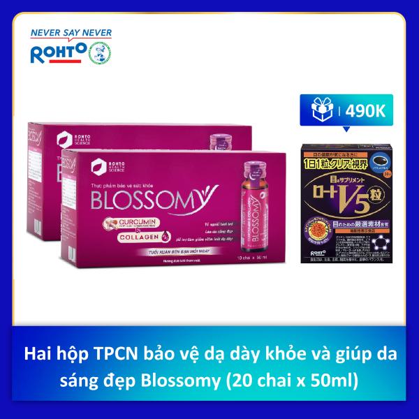 Bộ hai hộp thực phẩm bảo vệ sức khỏe giúp da sáng đẹp và dạ dày khỏe Blossomy (20 chai x 50ml) + Tặng 1 hộp viên uống sáng mắt Rohto V5 (30 viên)