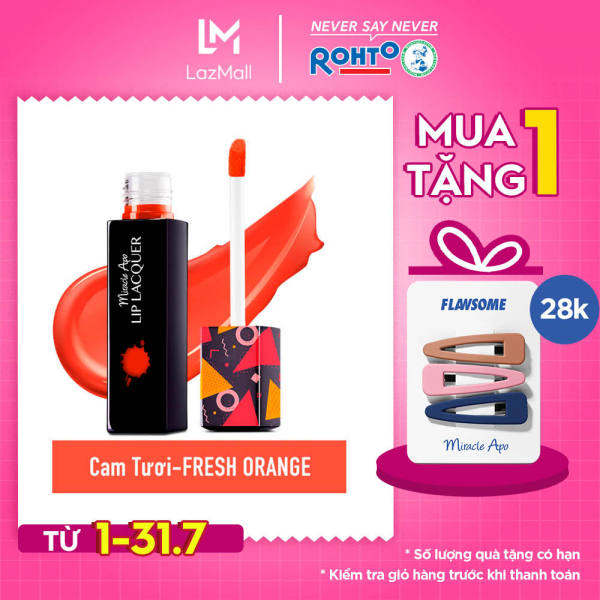 Son kem bóng Miracle Apo Lip Lacquer Fresh Orange 3ml (Cam tươi) giá rẻ