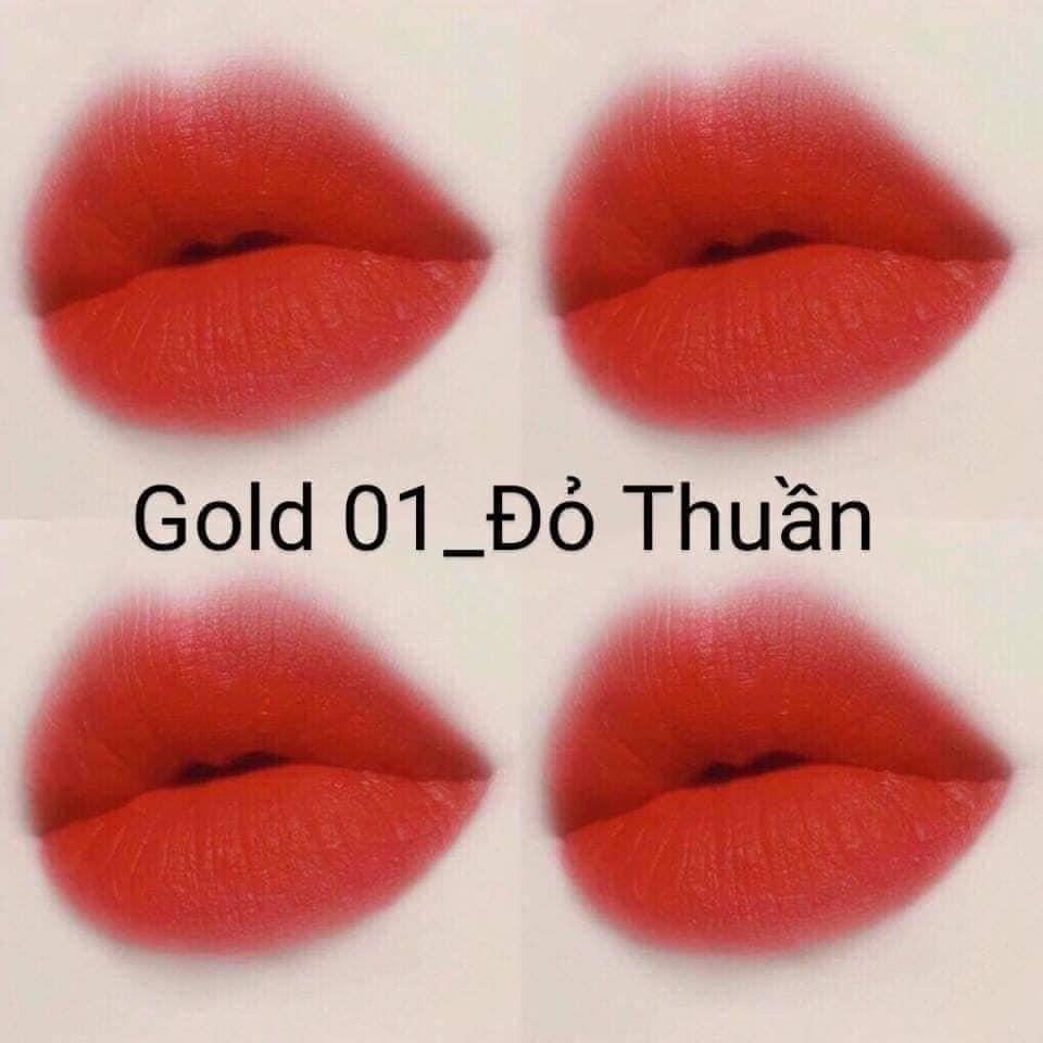 Son Nhung Lì Gold Matte Lipstick 2 Trong 1 Cao Cấp - 1 Đầu Son Dưỡng  1 Đầu Son Màu