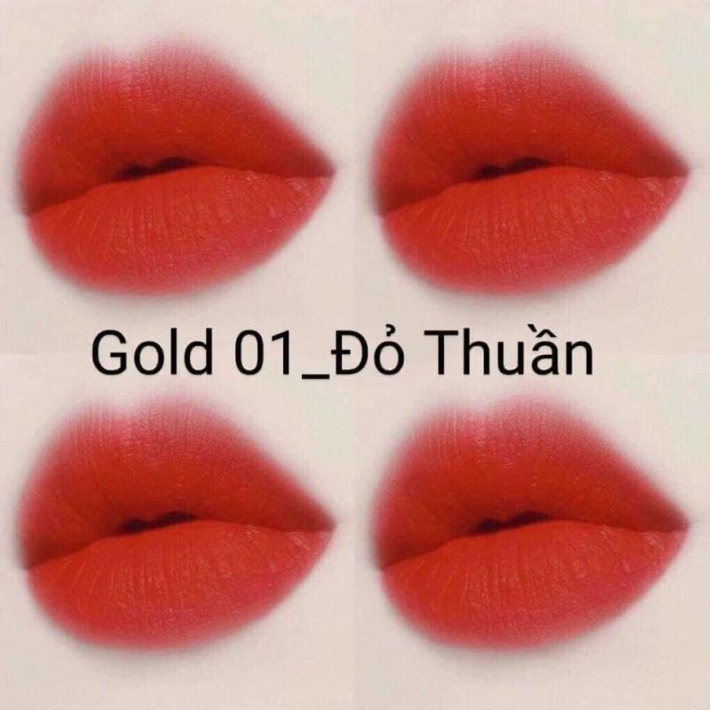 Son Nhung Lì Gold Matte Lipstick 2 Trong 1 Cao Cấp - 1 Đầu Son Dưỡng  1 Đầu Son Màu cao cấp