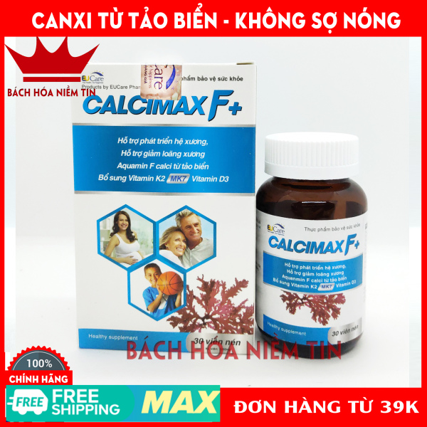 Viên Uống Bổ Sung Canxi, Vitamin D3, Vitamin K2 Calcimax F+ Phát triển hệ xương, chắc khỏe xương, giảm loãng xương - Hộp 30 viên Sử dụng cho bà bầu, trẻ em và người lớn