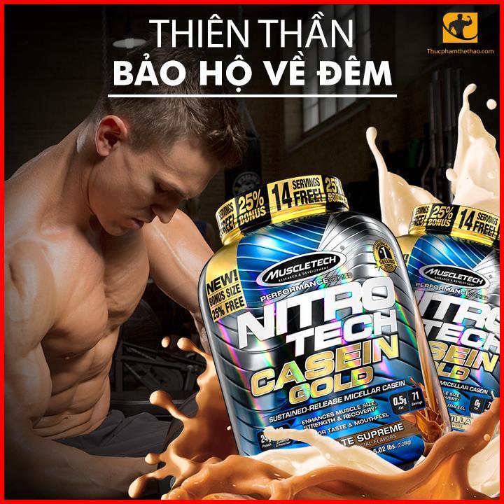 Sữa Tăng Cơ Ban Đêm Nitrotech Casein Gold 5lbs (2.28kg) [Tặng Bình Lắc] cao cấp