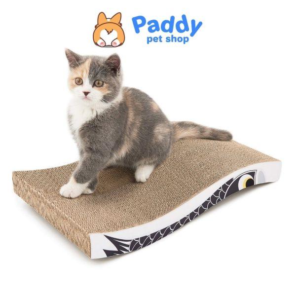 Bàn Cào Móng Giấy Cho Mèo + Tặng Kèm Cỏ Mèo - Chữ nhật lượn sóng