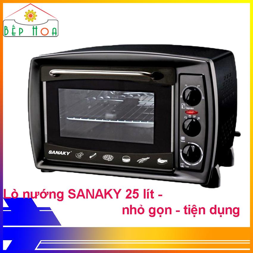 Lò nướng Sanaky VH-259S2D - Lò nướng 25 lít - Lò nướng gia đình - Công suất 1380W - Có chức năng xiên quay - Nướng được gà 1.5kg trở xuống - Vỏ đen - BH 24 Tháng - Bếp Hoa