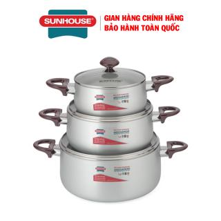 Bộ nồi anod SUNHOUSE SH8833QT - Bộ nồi nhôm - Bộ nồi bếp gas- Bộ nồi bếp hồng ngoại - Quai núm được nhập khẩu từ Hàn Quốc thumbnail