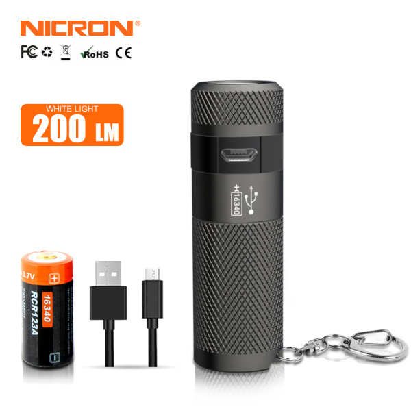 Đèn Pin Mini NICRON B10 3W USB Mini Đèn LED Đèn Pin Chống Nước Keychain Đèn Pin Nhỏ Gọn 3 Chế Độ Cho Hộ Gia Đình Ngoài Trời B10